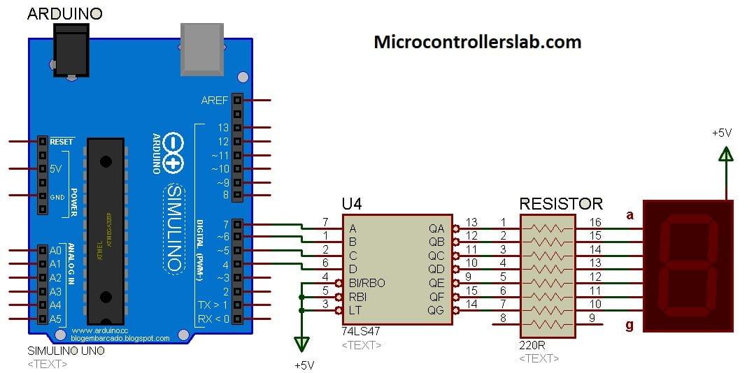 7 Segment Display interfacing with 74LS47 using Arduino