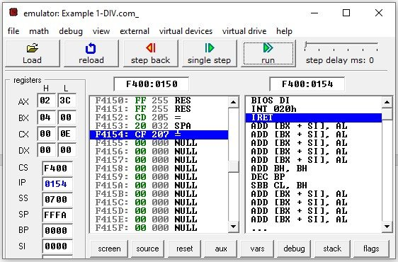 8086 DIV instruction byte with byte division