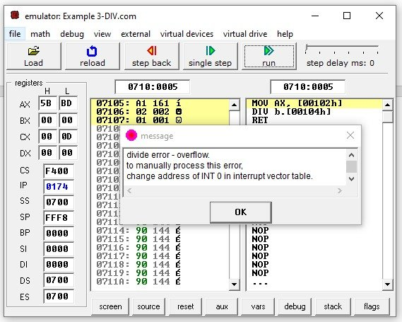 8086 DIV instruction overflow error