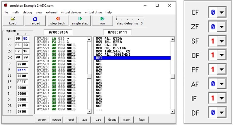 8086 assembly addition instruction with carry input