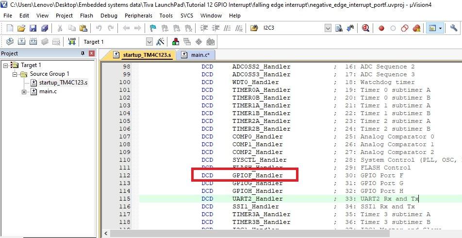 GPIOF Interrupt Handler in startup file of TM4C123G