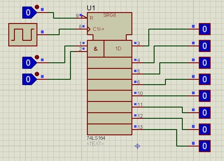 74LS164 proteus simulation 1