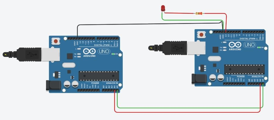I2C communication between two Arduino boards simulation
