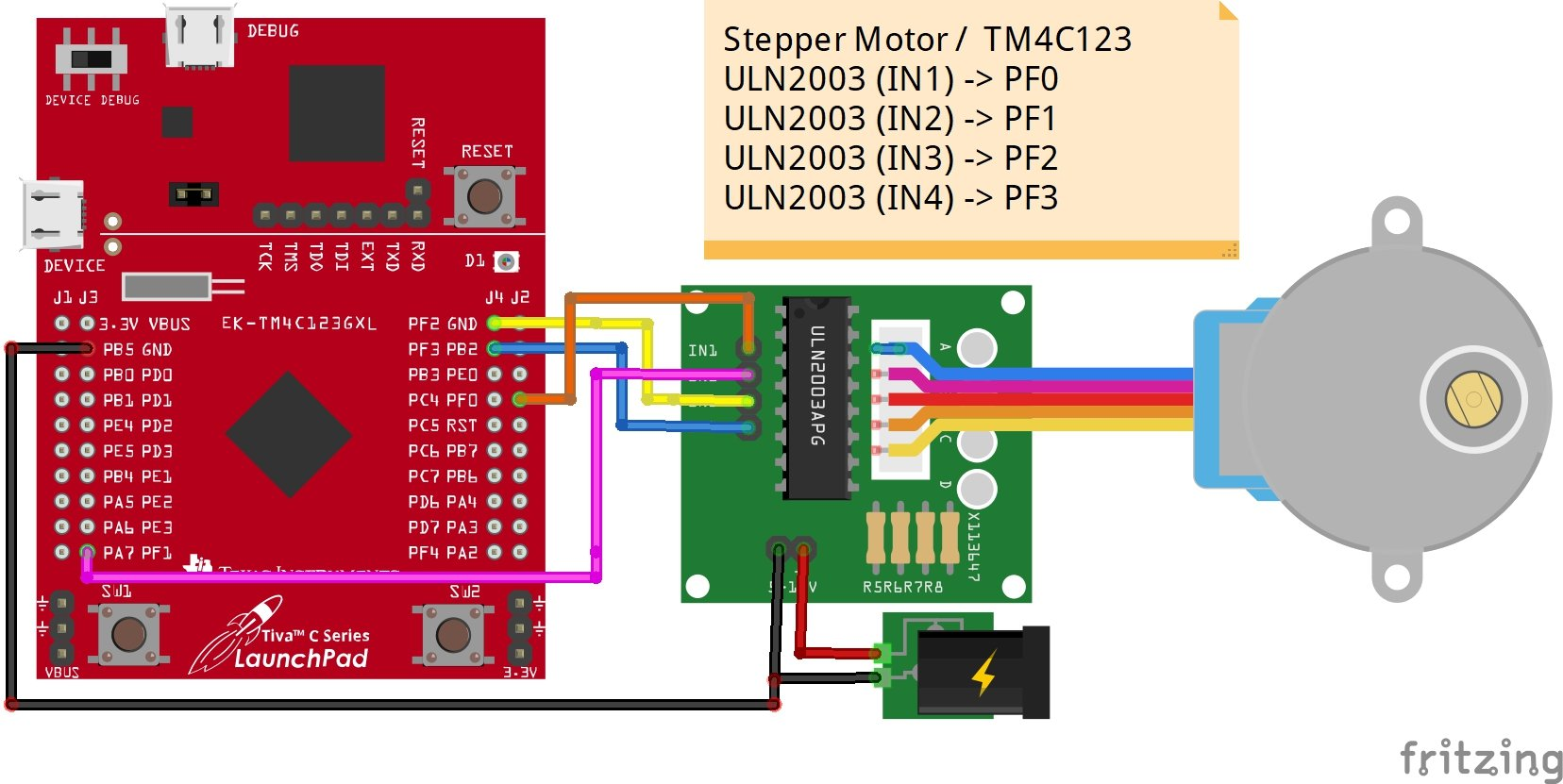 28BYJ-48 stepper motor interfacing with TM4C123 Tiva Launchpad