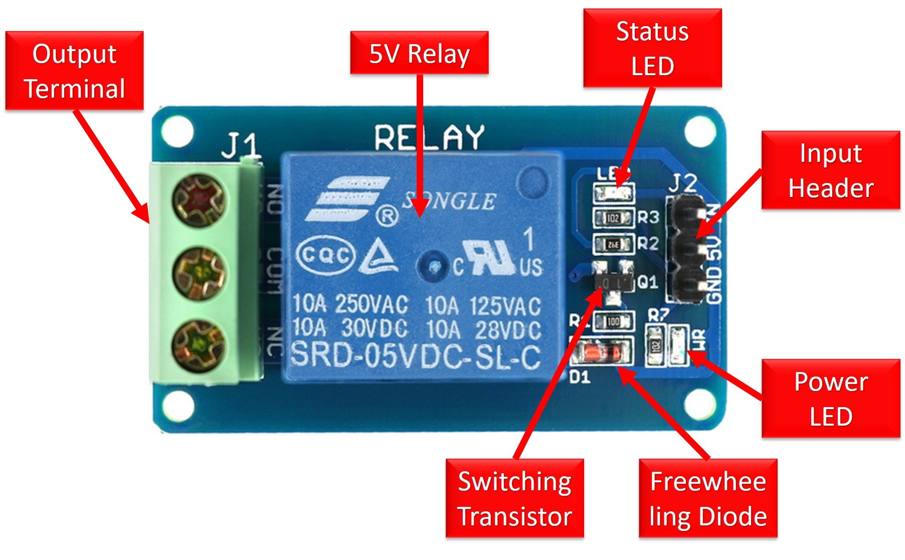 5V single channel relay module components