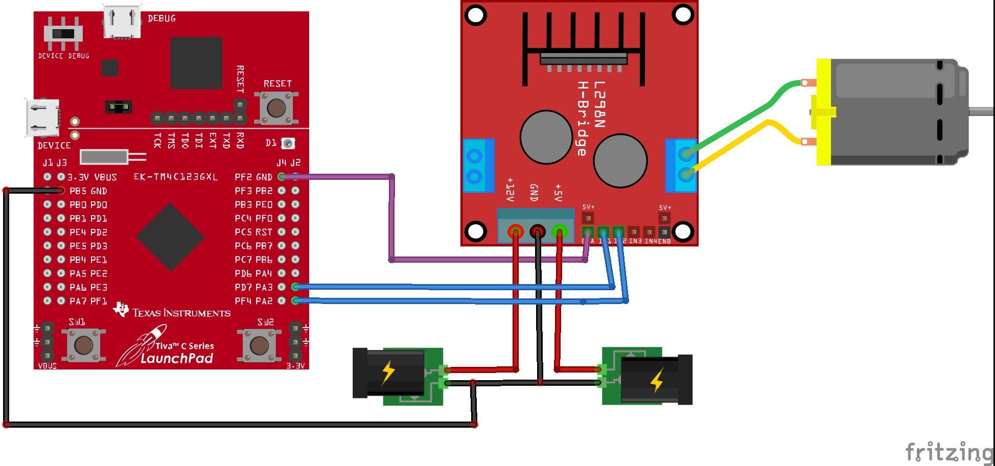 DC motor interfacing with TM4C123 Tiva Launchpad and L298N driver connection diagram