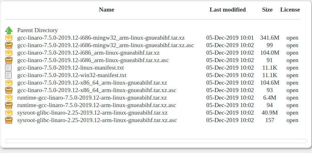 Download cross compilation toolchain