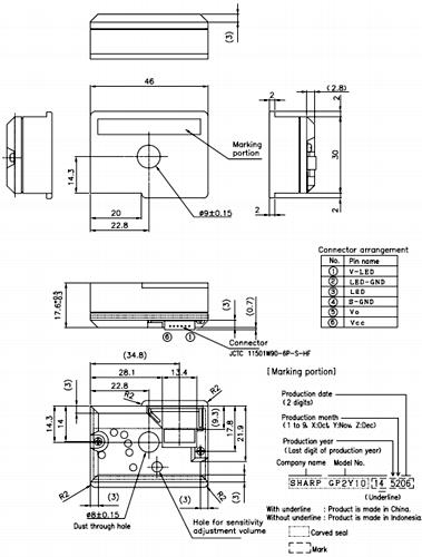 optical dust sensor 2D model