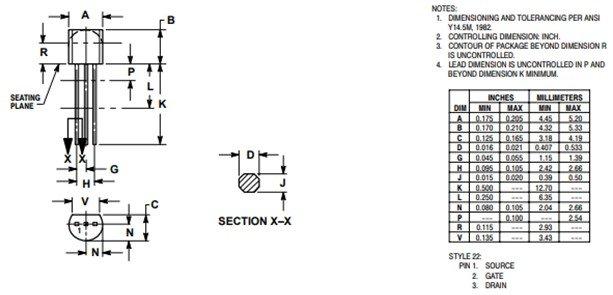 2N3819 N-Channel JFET 2D diagram