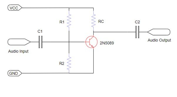 2N5089 transistor as an amplifier