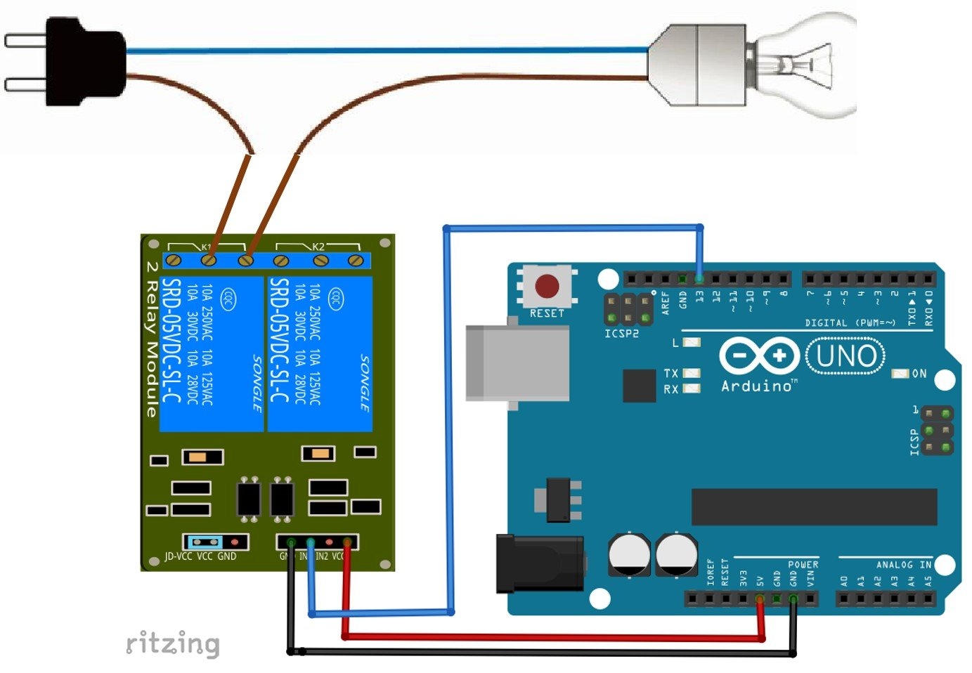 5V Dual Channel Relay Module interfacing with Arduino