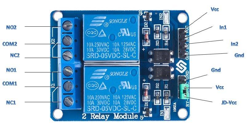 5V Dual Channel Relay Module pinout diagram
