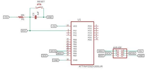 ATtiny2313 8-bit AVR Microcontroller minimal circuit