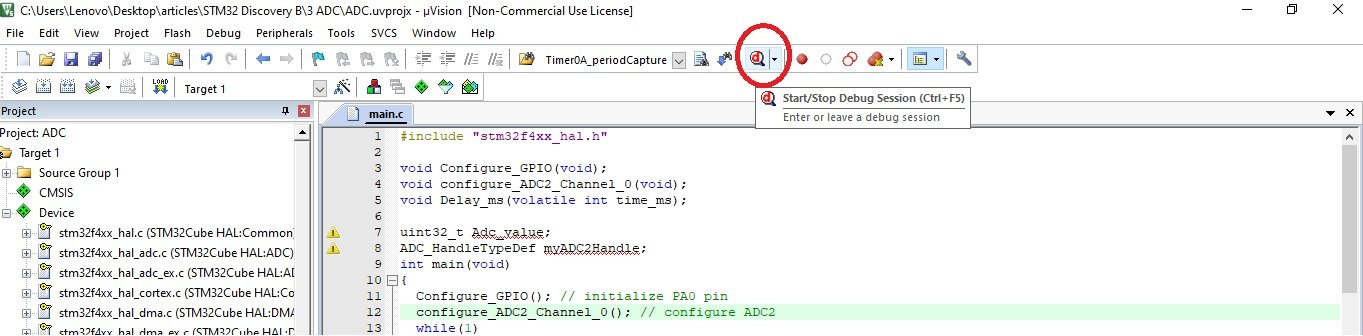 Open debugger in Keil uvision for ADC value