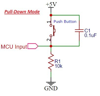 Pull down resistor with Push button Schematic