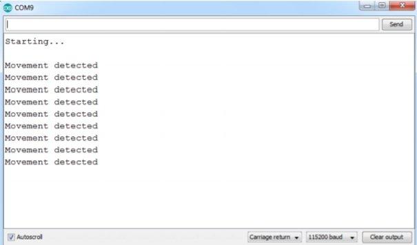 RCWL0516 sensor output on Arduino terminal