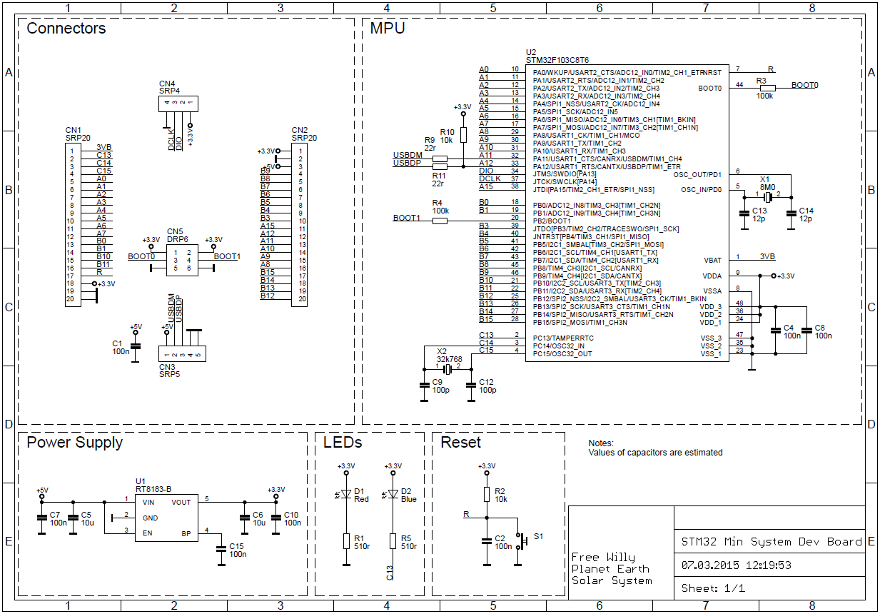 STM32F103C8T6 Blue Pill schematic diagram
