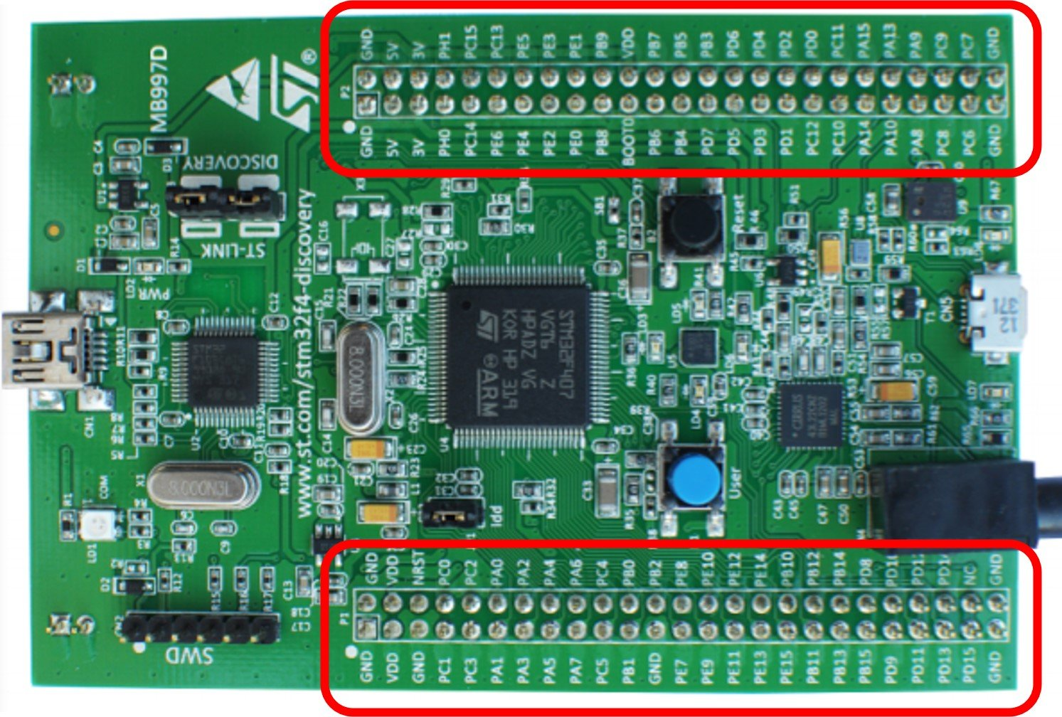 STM32F4 Discovery Board GPIO header pins