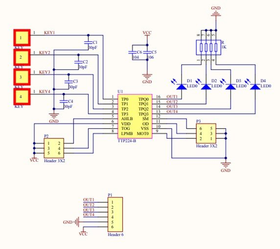 TTP224 external touch pad connections diagram