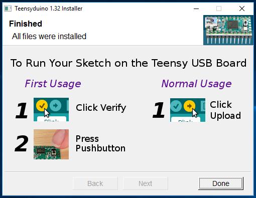 Teensyduino installer