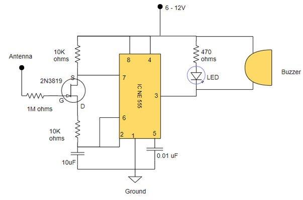 field detector circuit example 2N3819 JFET