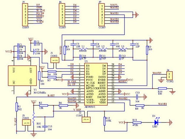 AD9850 module internal circuit diagram