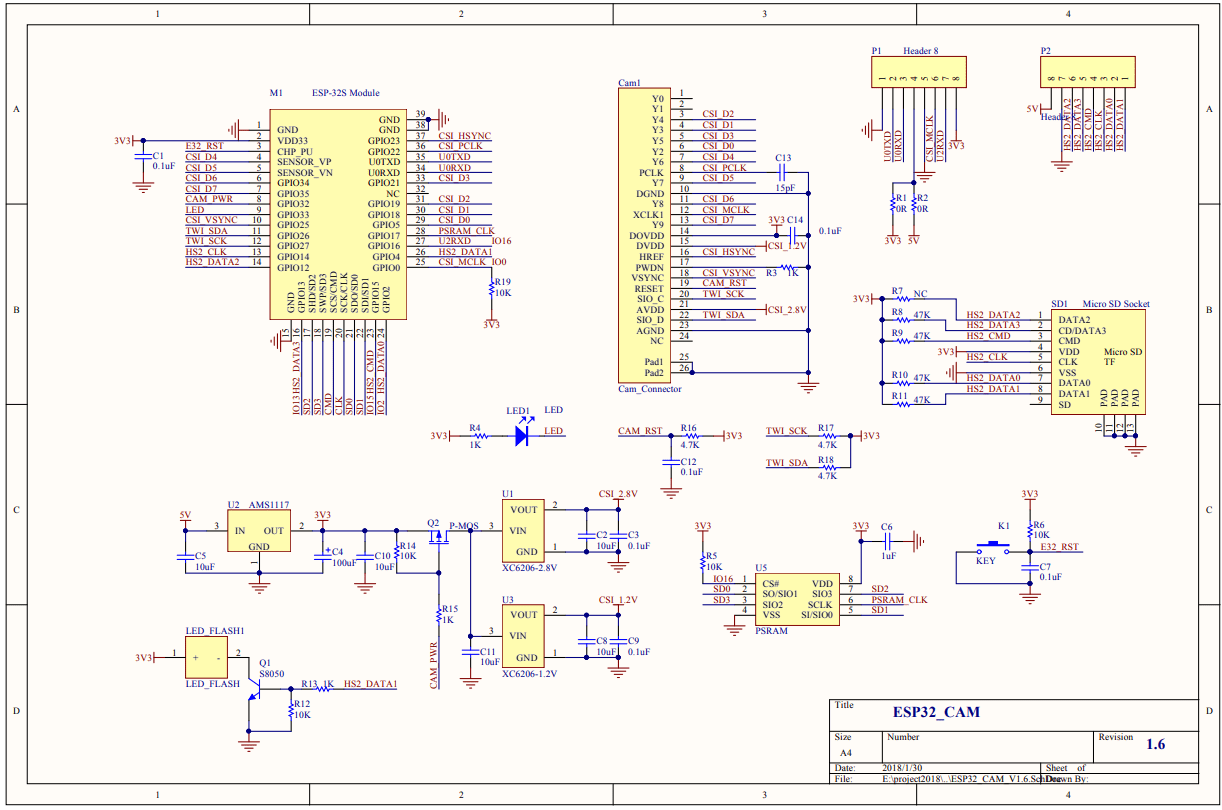 ESP32 CAM AI thinker schematic diagram