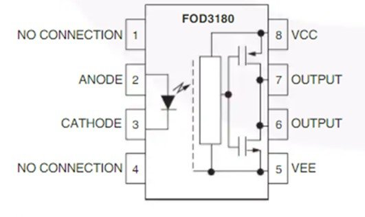 FOD3180 MOSFET Gate Driver Optocoupler internal circuit block diagram