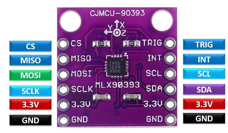 MLX90393 Digital Hall Sensor Module pinout diagram