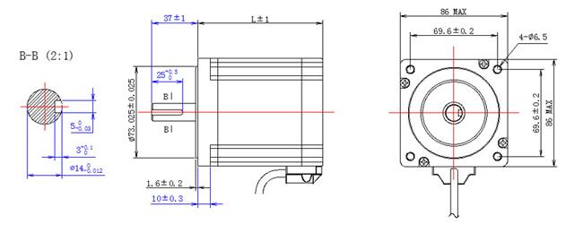 NEMA34 Stepper Motor 2D diagram