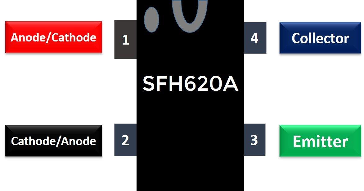 SFH620A Optocoupler pinout diagram