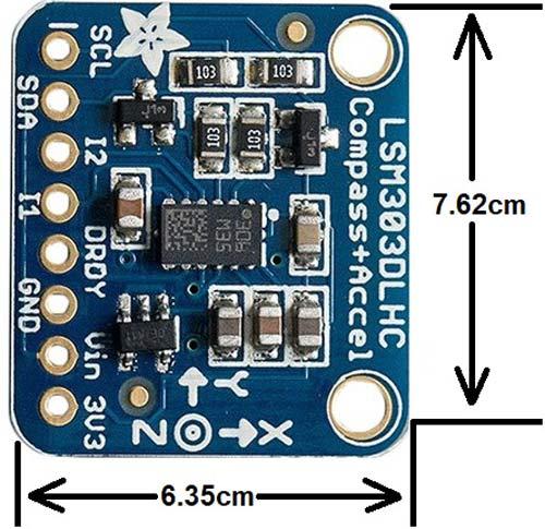 LSM303 Module 2D Dimensions