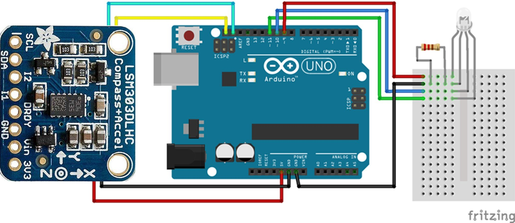 LSM303 Triple-Axis Accelerometer_Magnetometer Module interfacing with Arduino