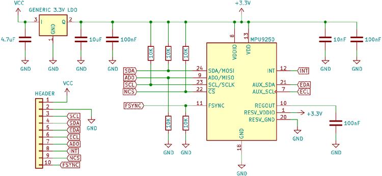 MPU9250 9-DOF MEMS Sensor Module internal circuit diagram