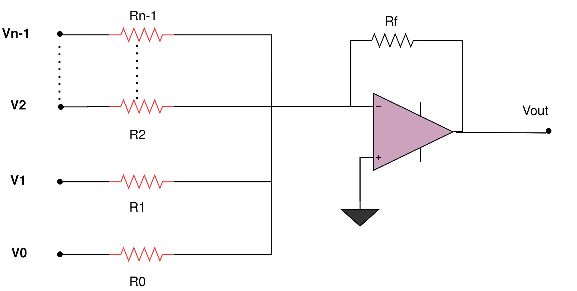 Summing amplifier for binary weighted DAC