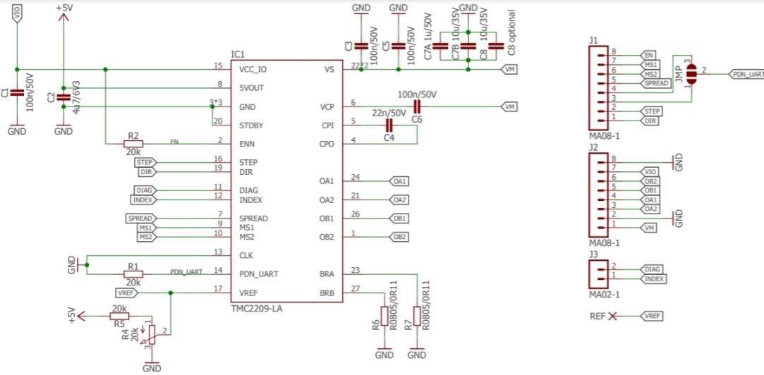 TMC2209 Stepper Motor Driver module internal circuit diagram