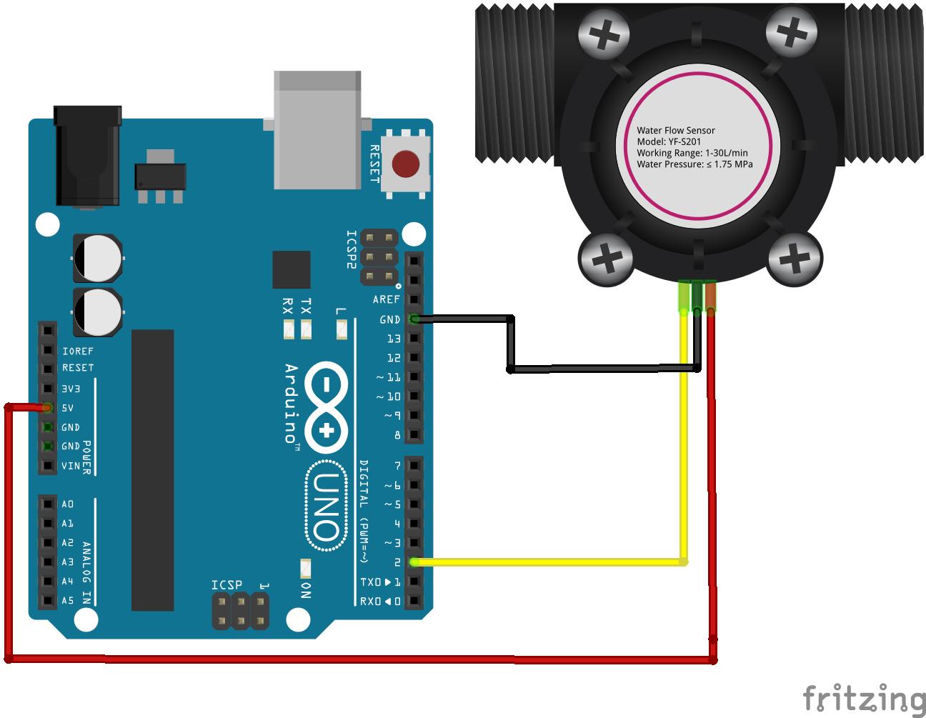 YF-S201 wate flow sensor interfacing with Arduino connection diagram
