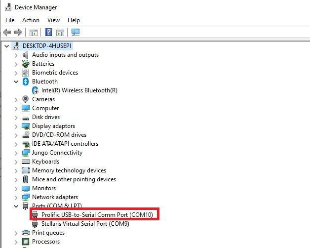 find COM port in device manager