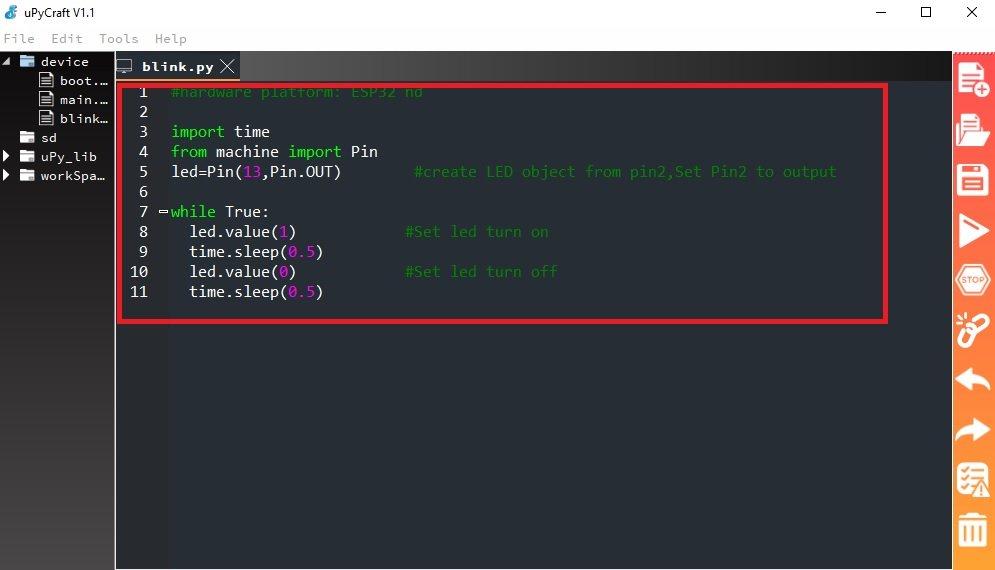LED blinking script micropython esp32 esp8266