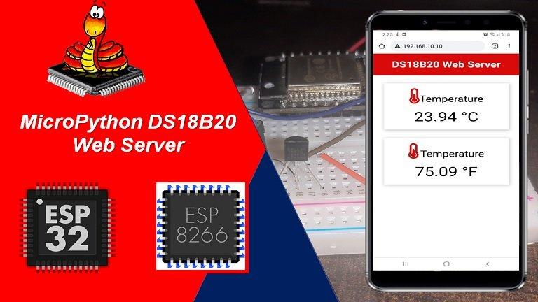 MicroPython DS18B20 Web Server with ESP32 ESP8266 Weather Station