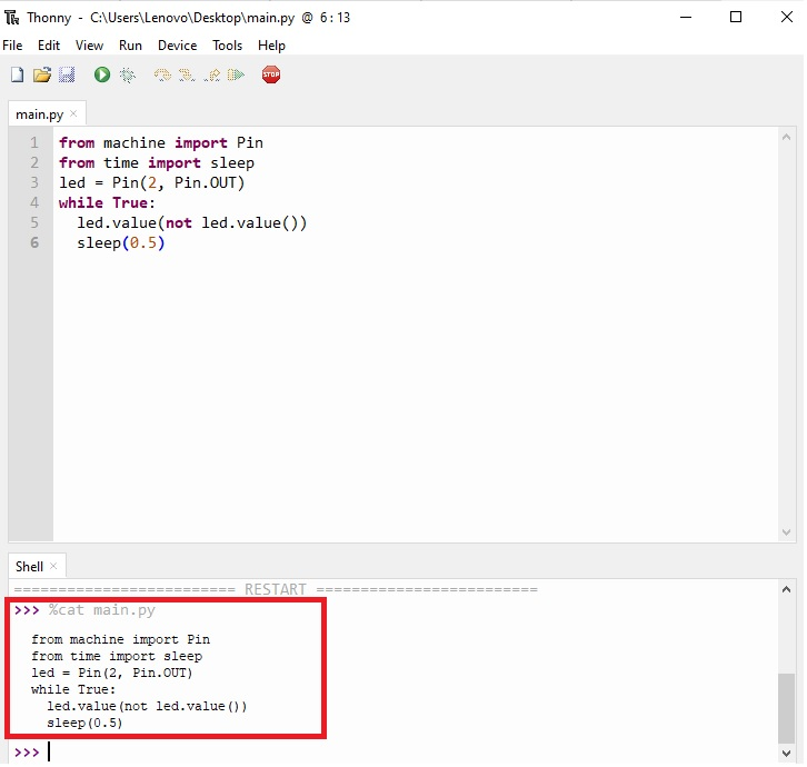 displaying content of a file thonny IDE