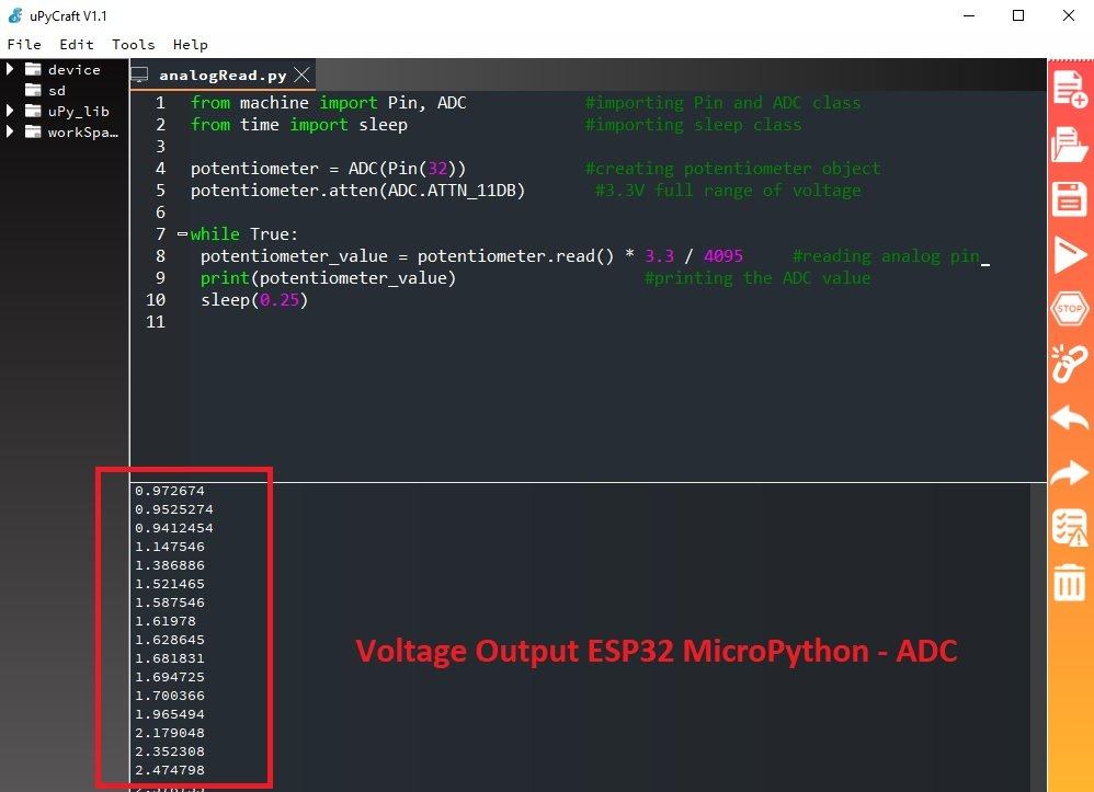 esp32 voltage measurement micropython