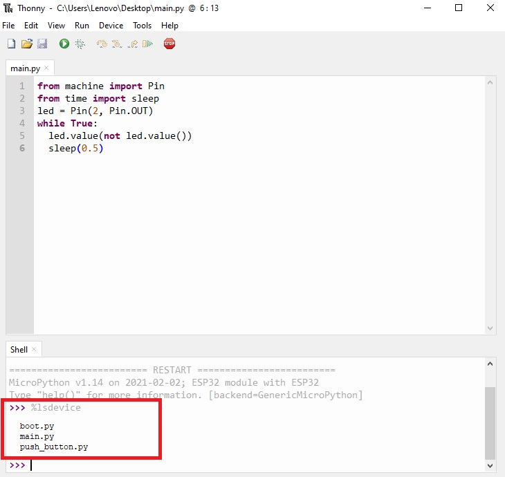 thonny ide listing all saved files of device
