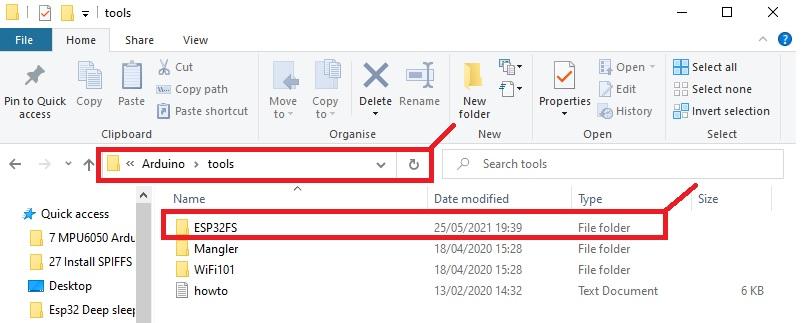 Arduino tools folder