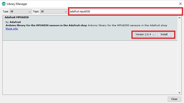 Install MPU-6050 library in Arduino IDE