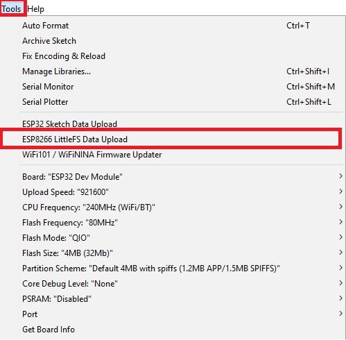 LittleFS sketch data upload option Arduino IDE