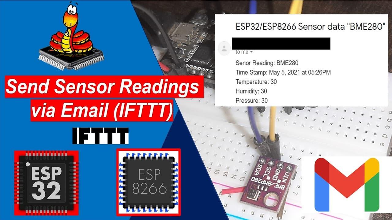 MicroPython ESP32 ESP8266 Send Sensor Readings via Email IFTTT