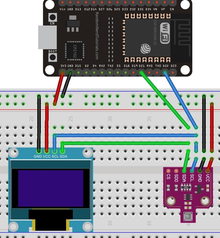 bme680 with oled and esp32 schematic diagram