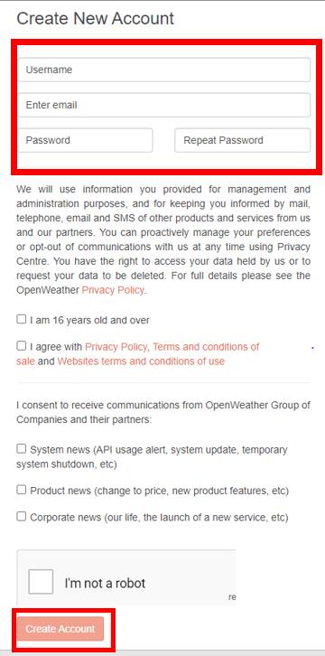 OpenWeatherMap Create account