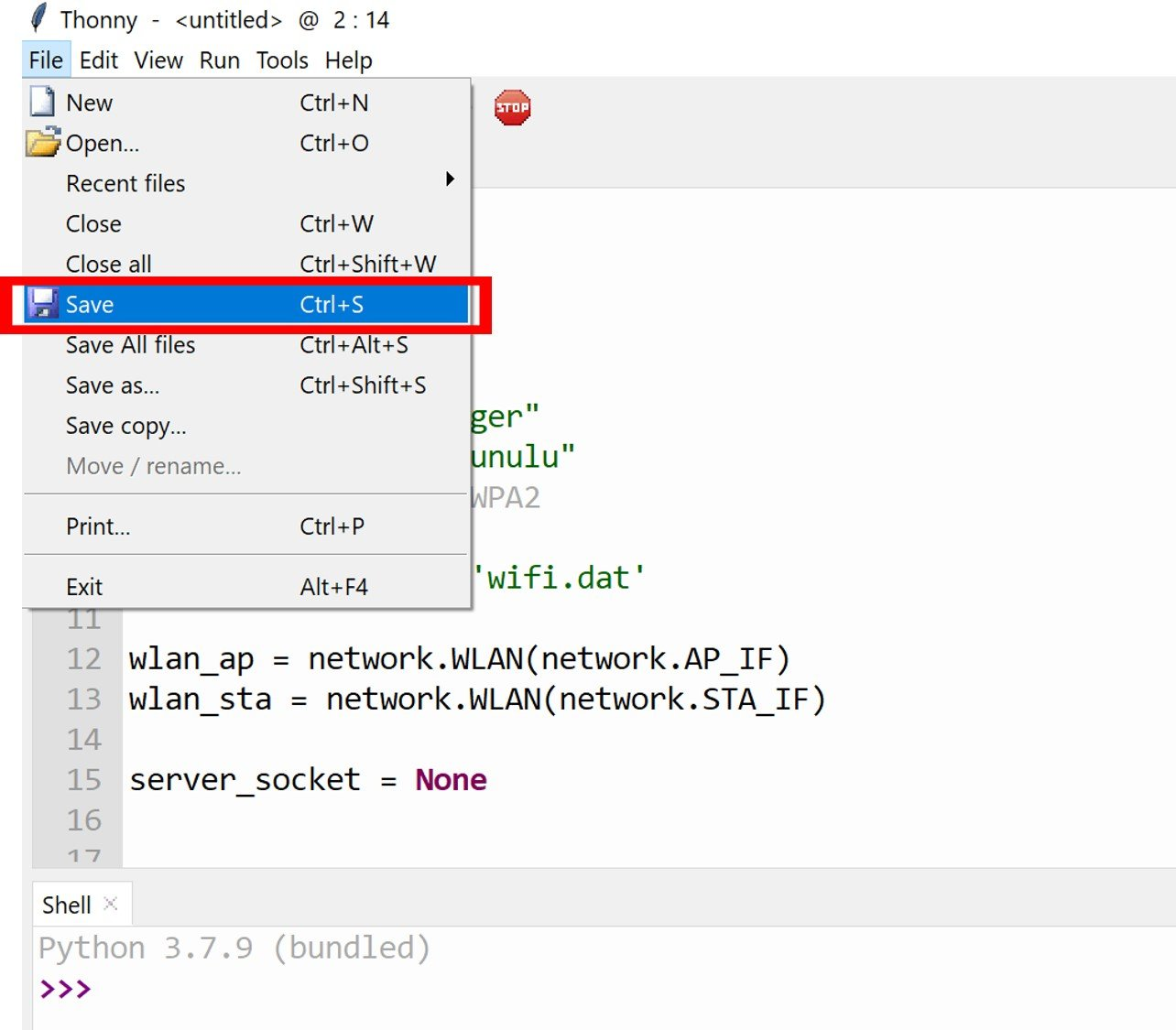 micropython wifi manager library upload thonny IDE 1